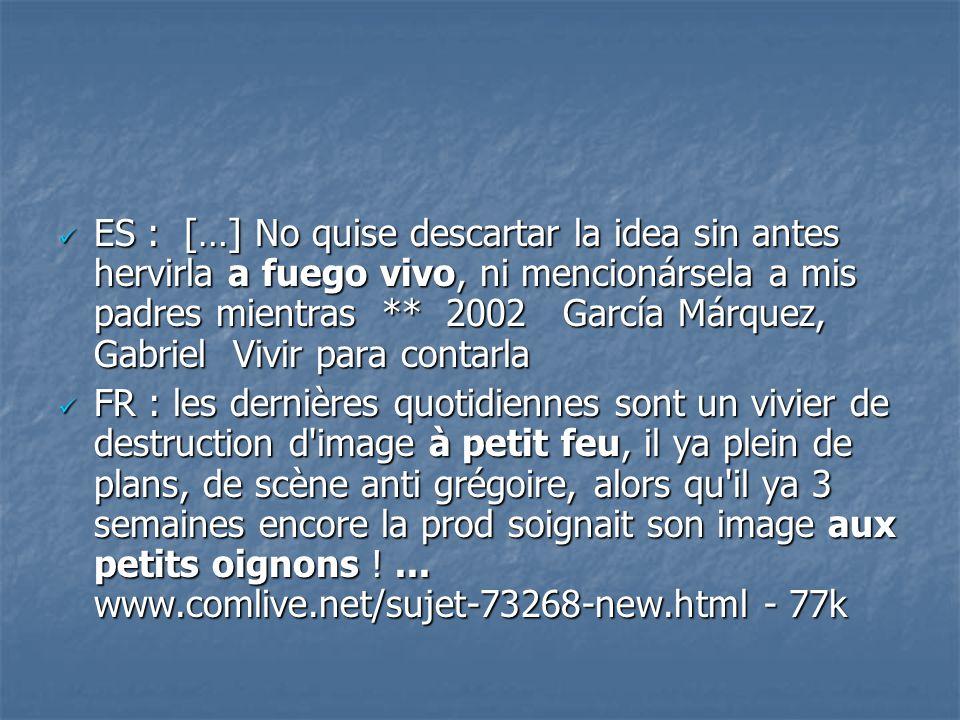 ES : […] No quise descartar la idea sin antes hervirla a fuego vivo, ni mencionársela a mis padres mientras ** 2002 García Márquez, Gabriel Vivir para contarla